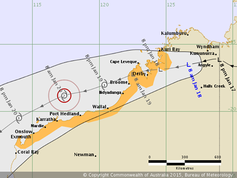 Cyclone Alert for Port Hedland and Karratha