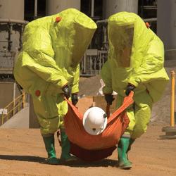 mines rescue team using hazmat equipment