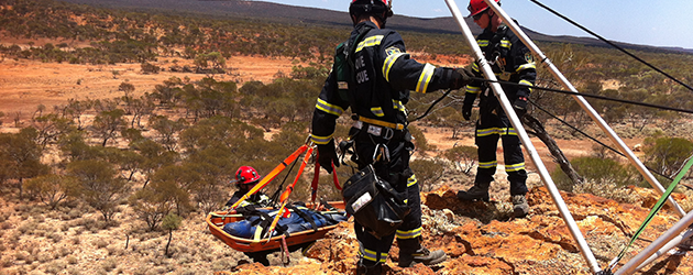 mines rescue team perform simulated rescue