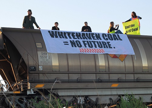 Protesters Stop Coal Train From Leaving Maules Creek Coal Mine