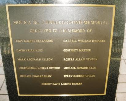 Moura No. 2 mine disaster commemorative plaque
