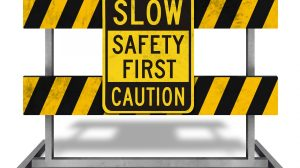 roadblock sign following bolter miner incident
