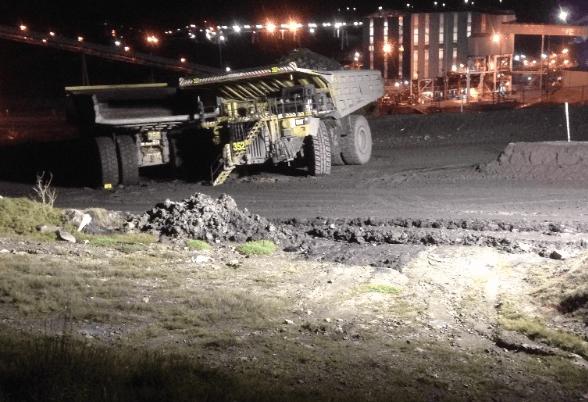 Haul truck collision in wet weather