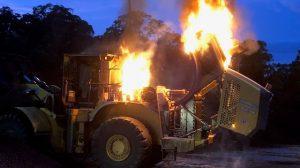 loader fire on coal stockpile