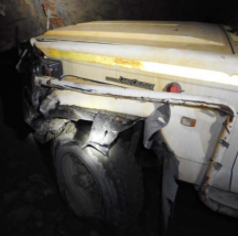 haul truck hits light vehicle