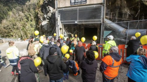 Pike River Families watch on as three mine workers enter the Pike River Mine