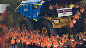 Curragh mine have painted a haul truck pink and blue for breast and prostate cancer awareness