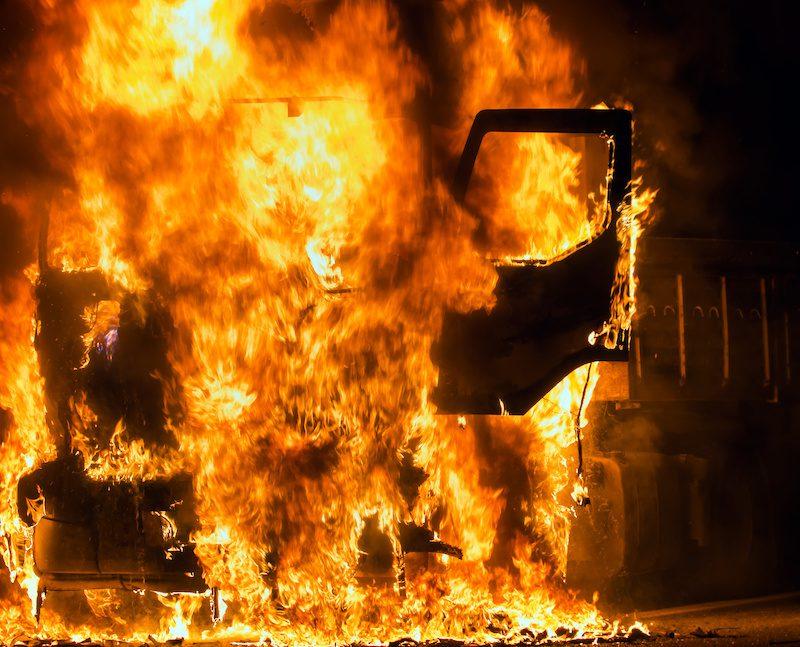 Hydraulic fluid fire
