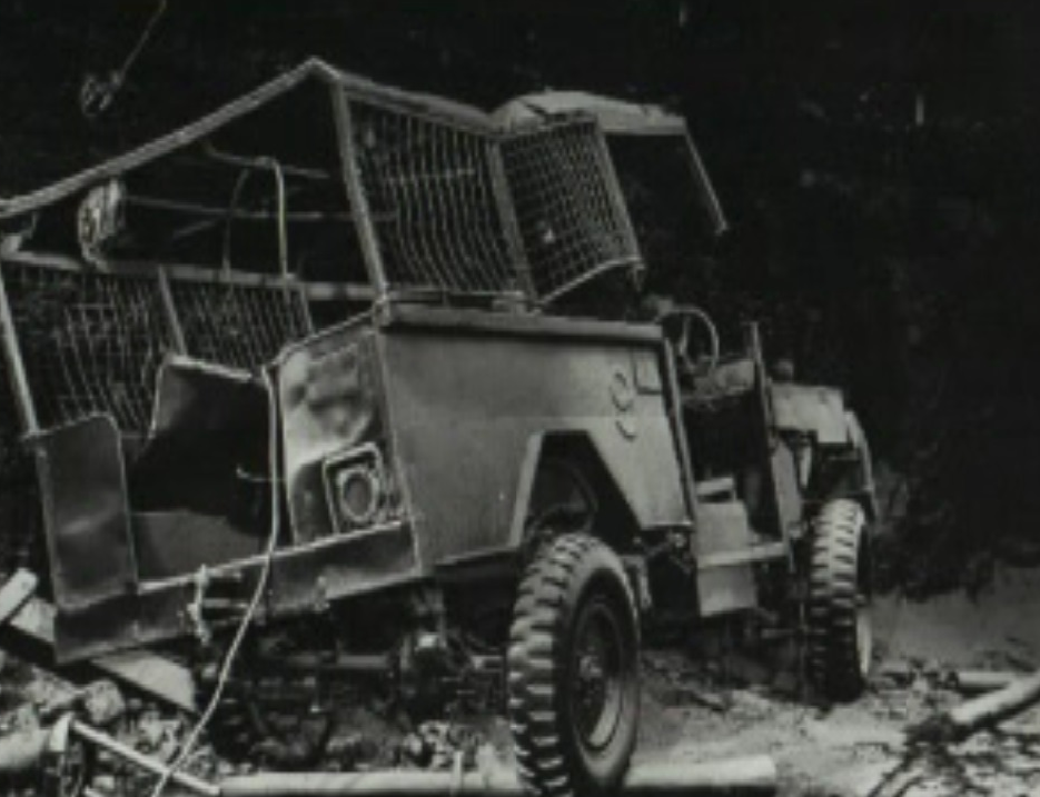 Extensive damage to a mine transport vehcile in the Moura No 4 mine disaster