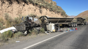 The scene of an accident involving a mine bus and heavy haulage