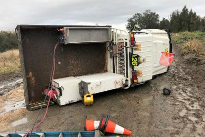 A light vehicle lost control at a mine in slippery conditions