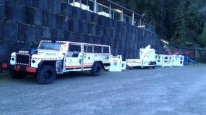 A driftrunner prepares to take families to the 170 metre mark at the Pike River mine drift