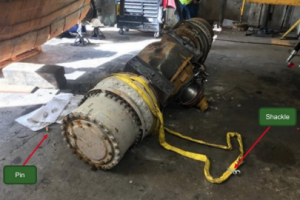 Lifting incident involving a loader axle assembly for a mine loader