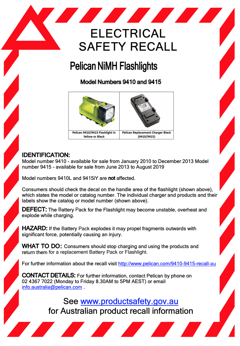 Pelican issues recall over exploding batteries   Mine Safety