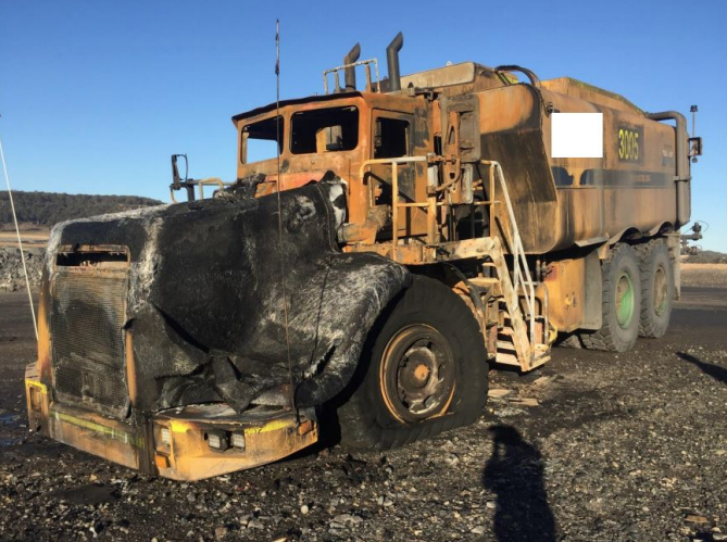 mobile plant drive shaft fire from driveshaft failure