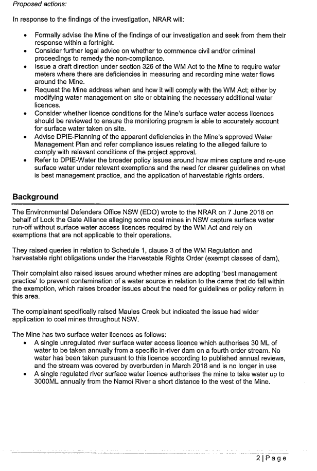 Briefing note on Groundwater usage provided to the NSW Minister