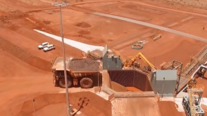 BHP autonomous truck unloading at Jimblebar