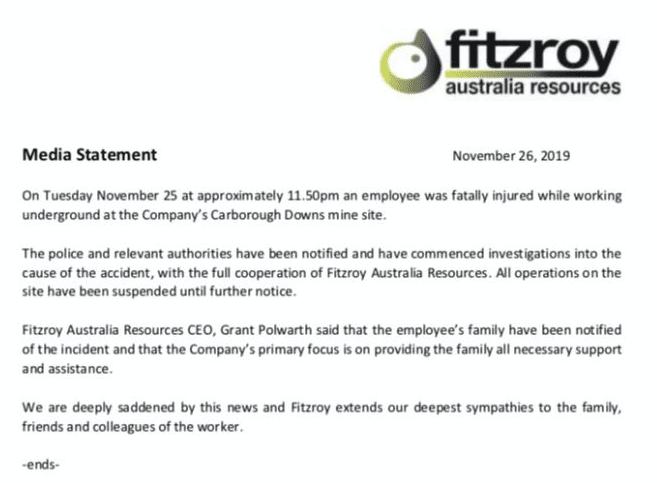 Fitzroy Resources statement on Caraborough DOwns Mine death