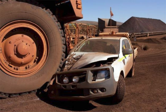 haul truck collision in 2014 with light vehicle