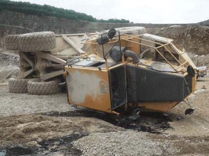 Articulated dump truck rollover