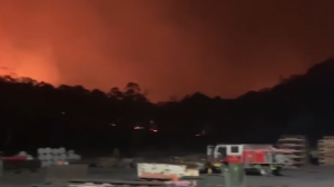 Springvale mine surrounded by bushfire