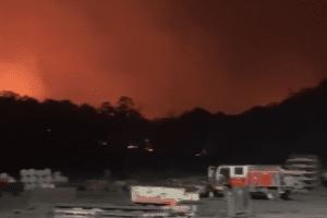 Springvale mine surrounded by bushfire