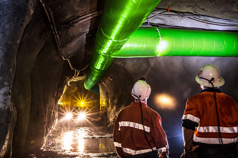 Ventilation officers inspecting a mine