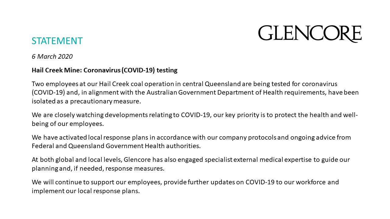 Glencore Statement