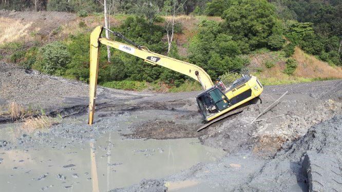 long reach digger incident