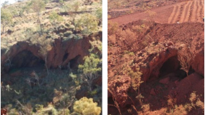 Juukan Gorge in 2013, left, and 2020.(Supplied: Puutu Kunti Kurrama And Pinikura Aboriginal Corporation, Composite ABC News)