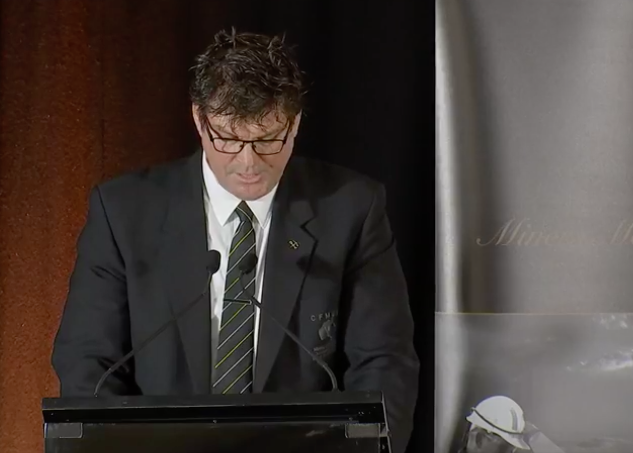 Glenn Power from the CFFMEU speaking at the Miner's Memorial Service.