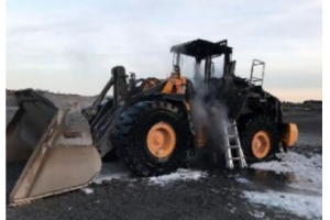 Fire destroys loader