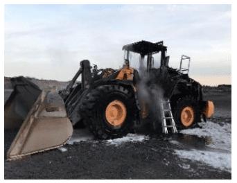 Fire destroys loader