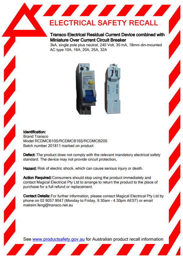 residual current device recall