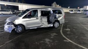 Merceds Van damaged at factory by Caterpillar 938M Loader