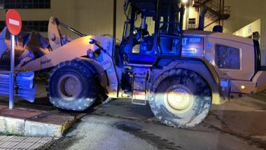 Caterpillar 938M used to ravage mercedes factory