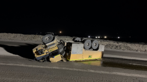A service truck overturned
