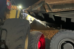 haul truck collided with the lift arm